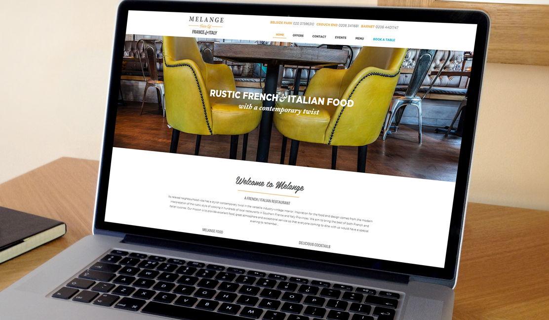 Melange Restaurant Home page